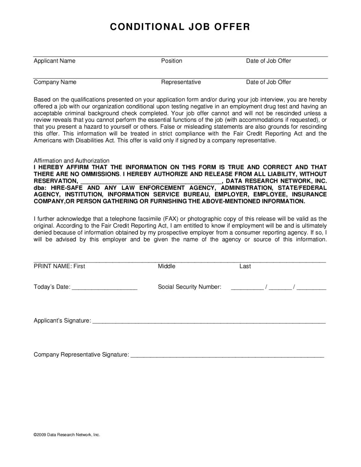 page_1 Offer Letter Template Contingent Upon on contractor letter template, business letter template, commitment letter template, contract letter template,