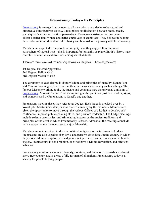 Freemasonry Today – Its Principles by alex david - issuu