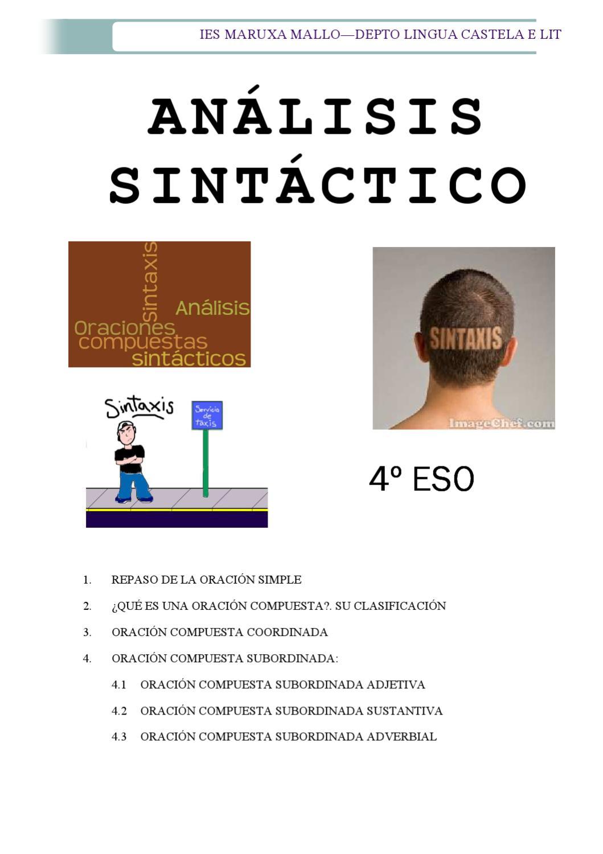 Analisis Sintáctico 4º Eso By Rosa Maria Maceiras Miñan Issuu