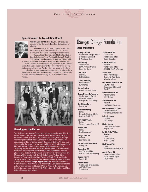 Oswego - Fall/Winter 2002 by Oswego Alumni Association - issuu