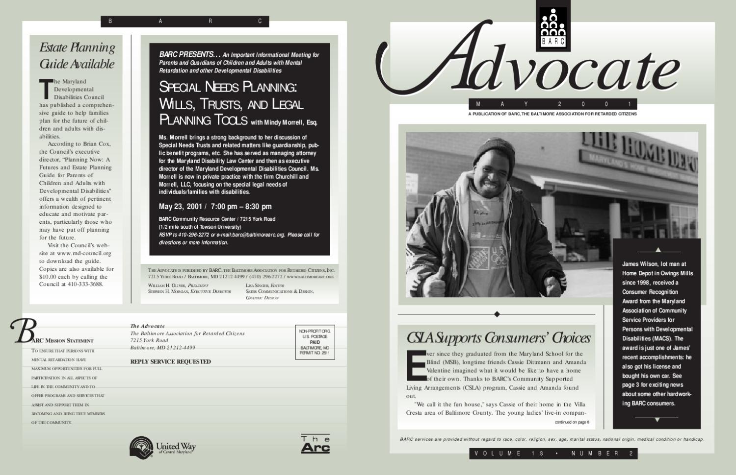 Advocate_Spring 2001 by The Arc Baltimore - issuu