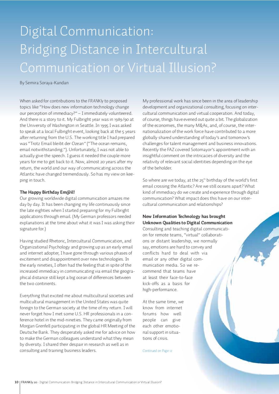 Digital communication: Bridging distance in intercultural