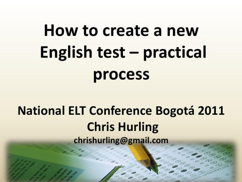 How to create a new English test - practical process by British