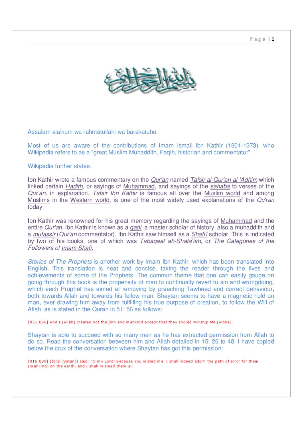 IBN KATHIR - STORIES OF THE PROPHETS by Islamic Books - issuu