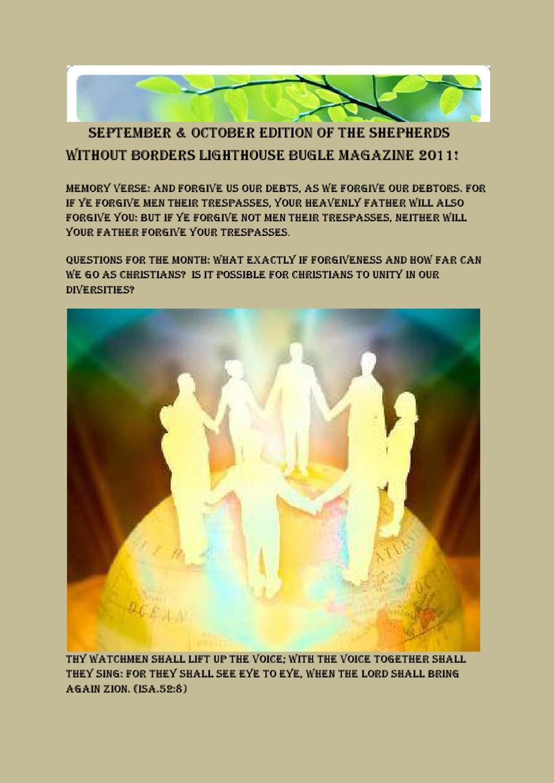 SEPTEMBER & OCTOBER EDITION OF THE SHEPHERDS LIGHTHOUSE BUGLE MAGAZINE 2011