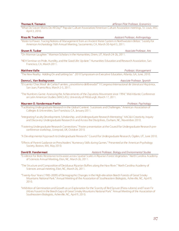 2010-11 Elon University Provost's Report by University