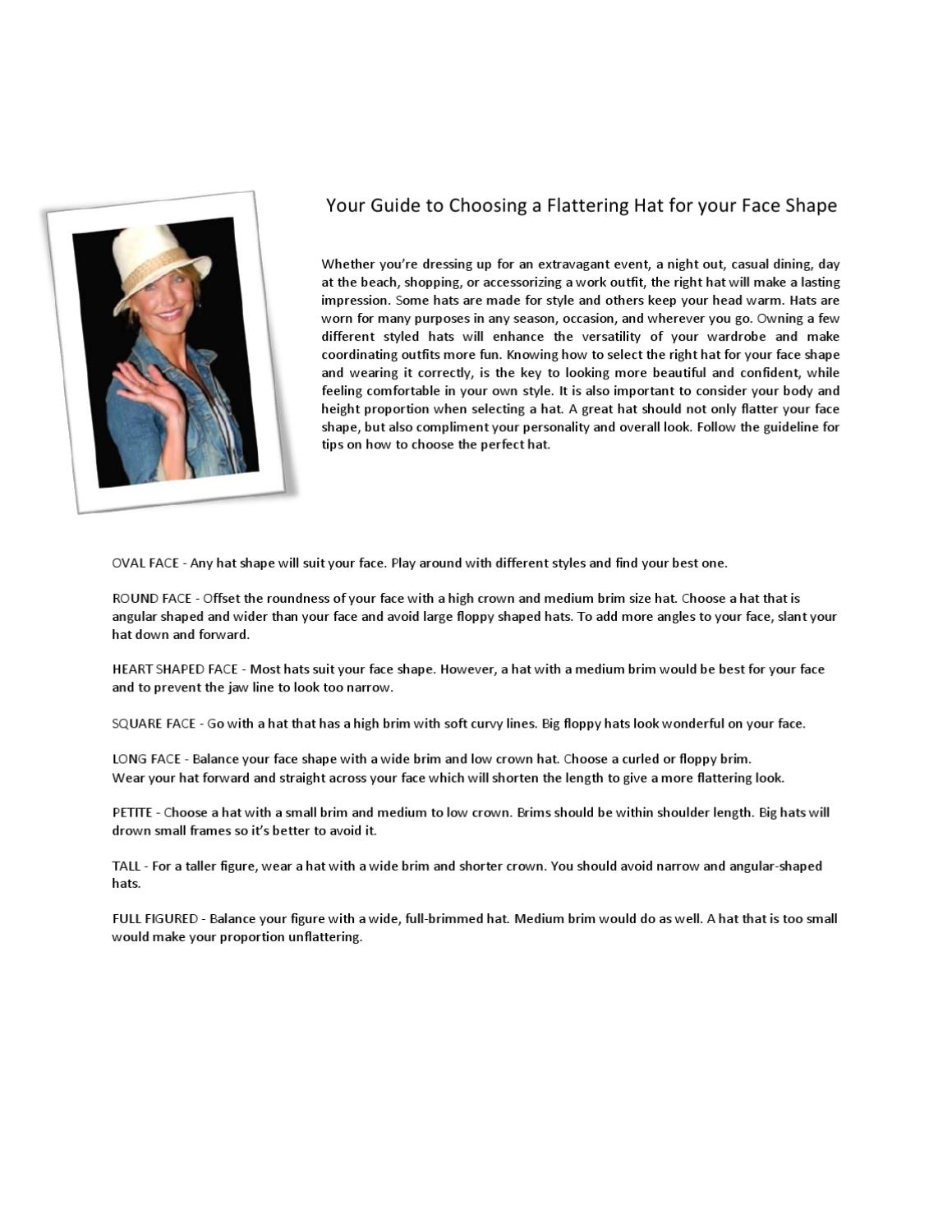 Your Guide to Choosing a Flattering Hat for your Face Shape by Maleah Quyen  - issuu 709aa4fe4534