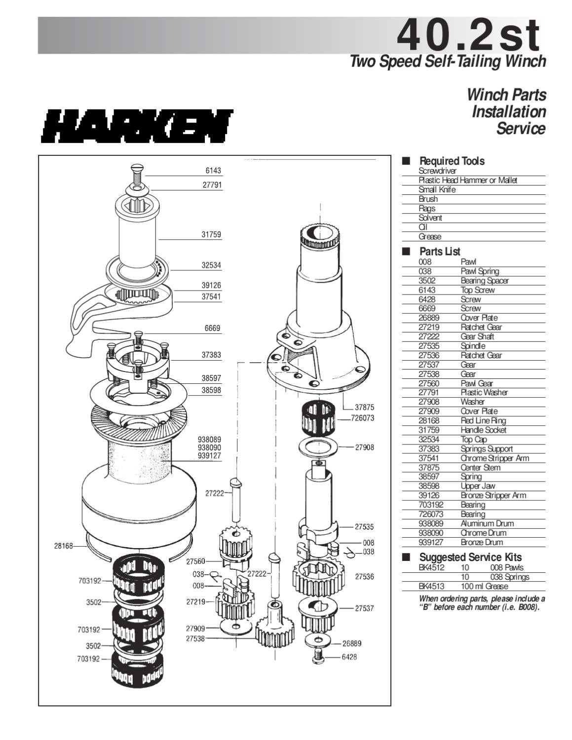 HARKEN Winch Service Parts and Grease Winch Pawl for All winches ...