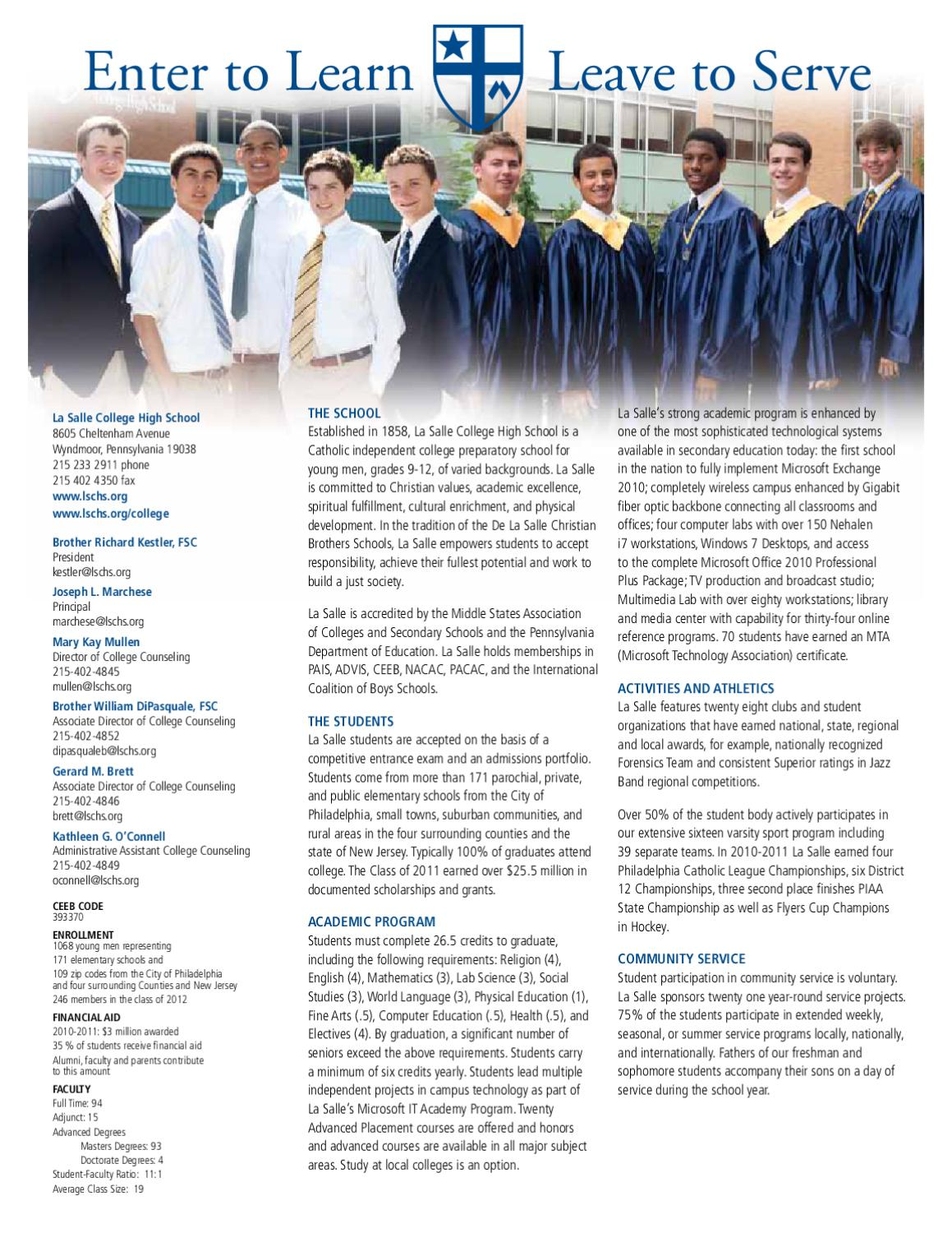 College Counseling Profile 2011 by La Salle College High School - issuu