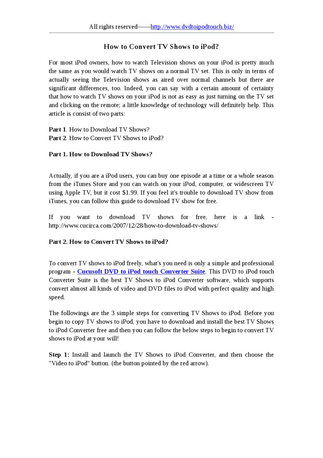 How to convert tv shows to ipod by lin su issuu.
