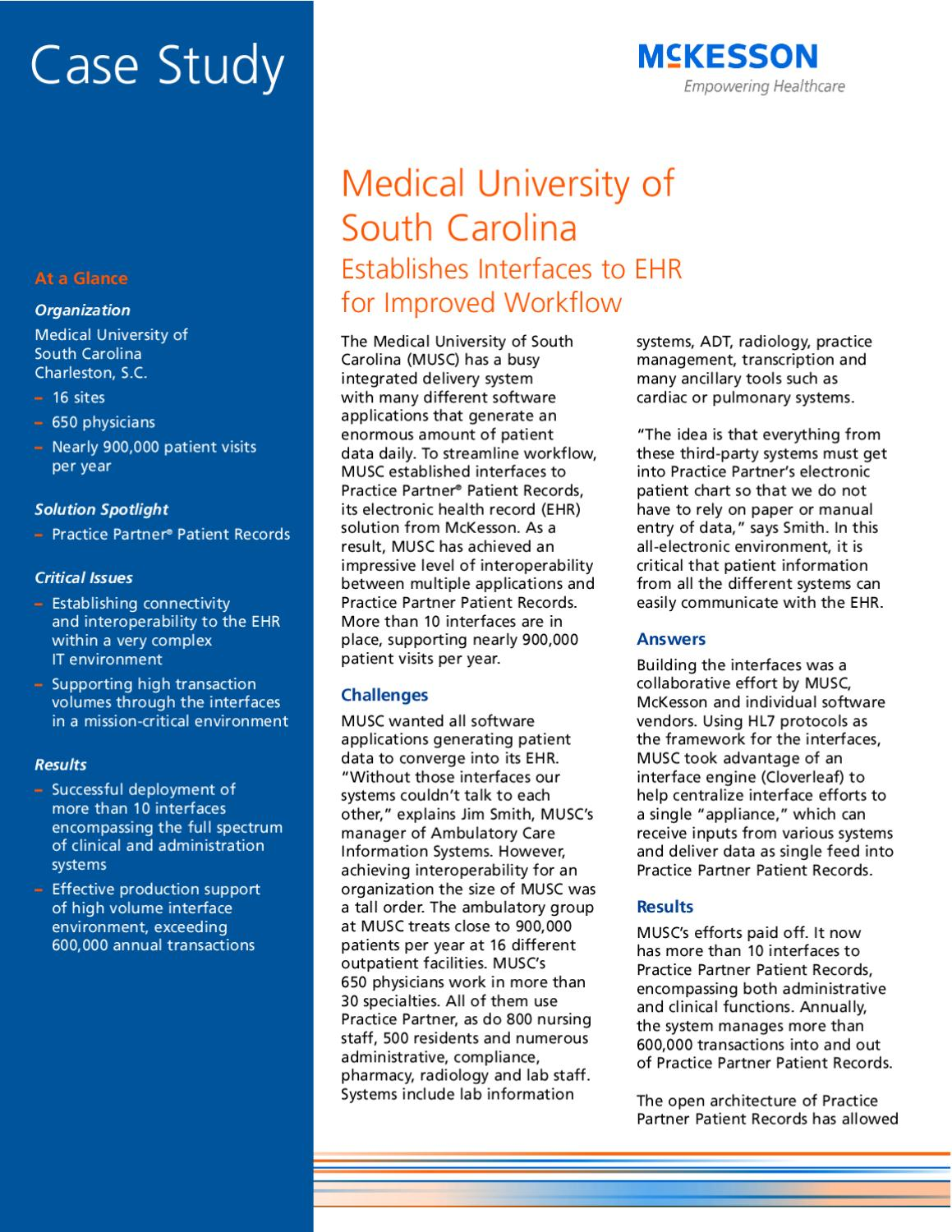 Medical University of South Carolina Establishes Interfaces to EHR for  Improved Workflow by mckesson physicianpractice - issuu
