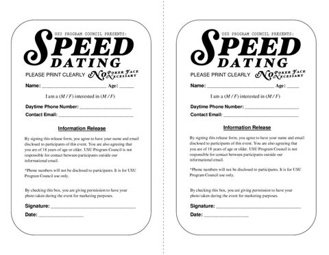 Sample speed dating forms