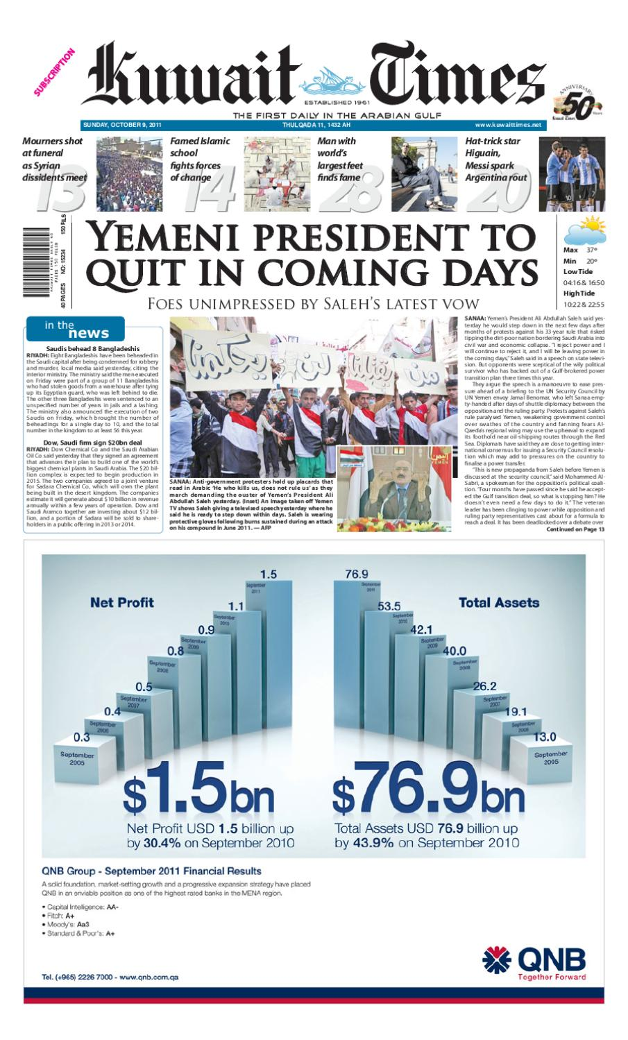 9th Oct by Kuwait Times - issuu