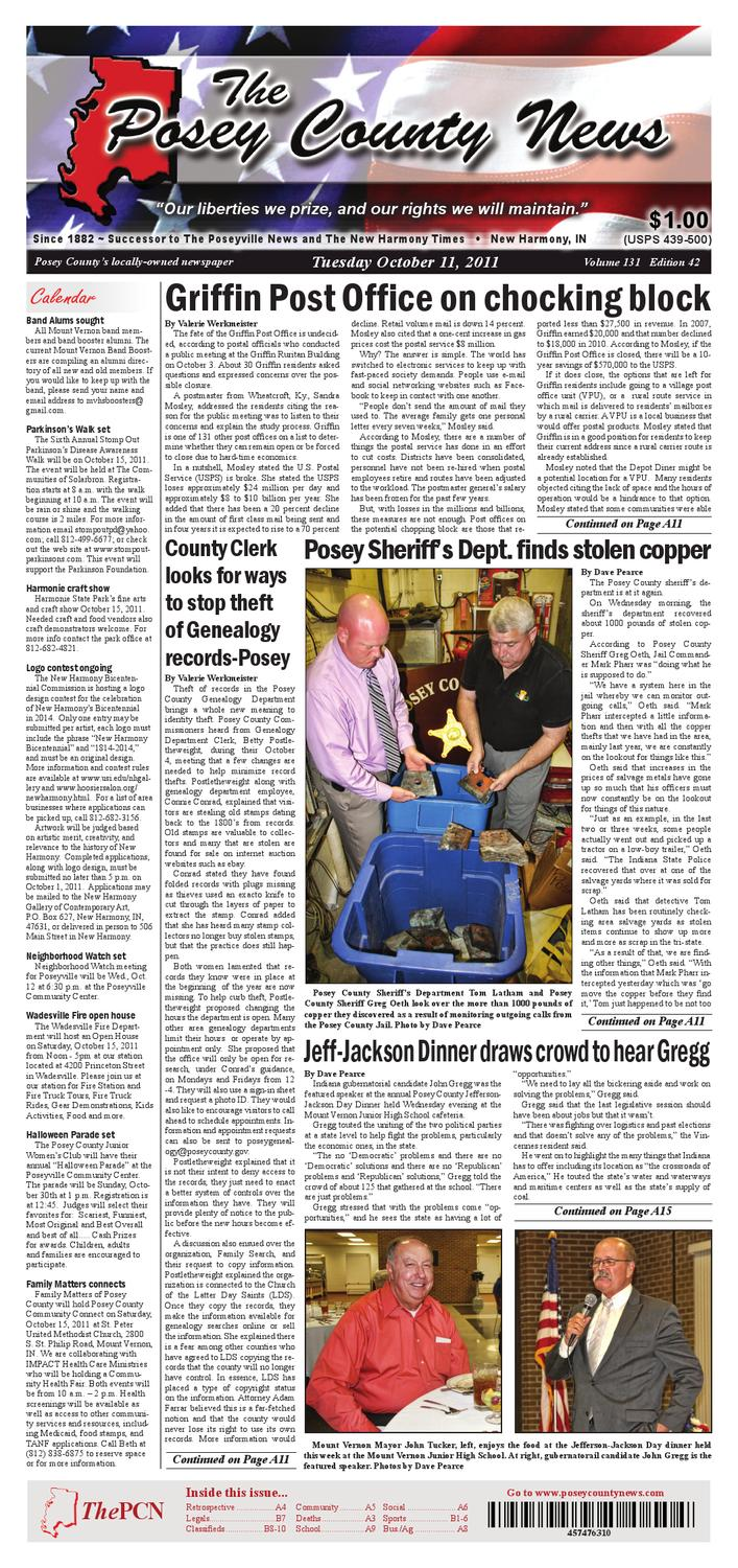 October 11 2011 The Posey County News By Charles Jourdan 1005 2312 Silver Issuu