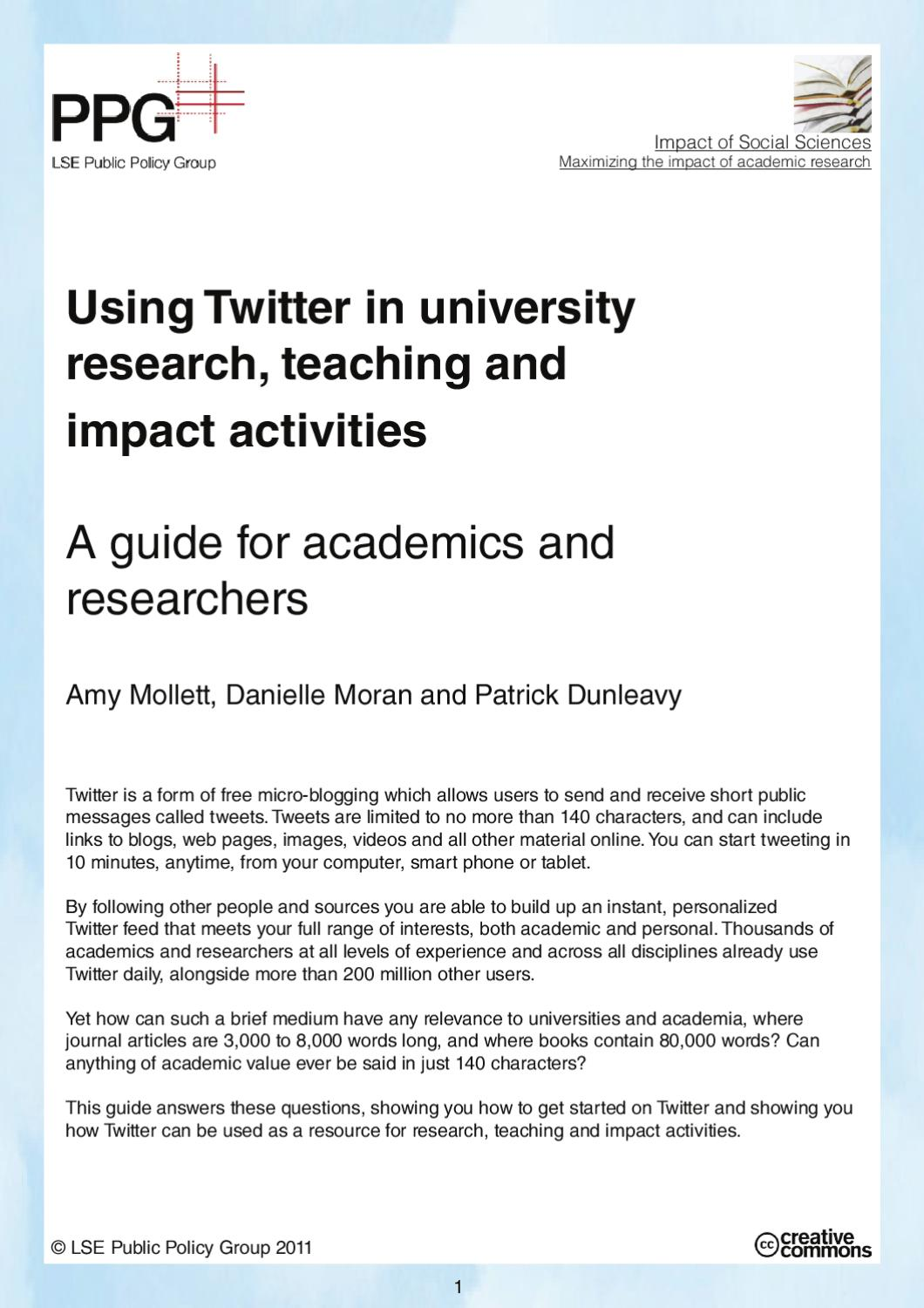 A guide to using Twitter in university research, teaching