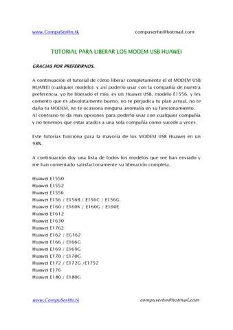 tutorial para liberar modems huaweis de cuealquier tipo by dennis