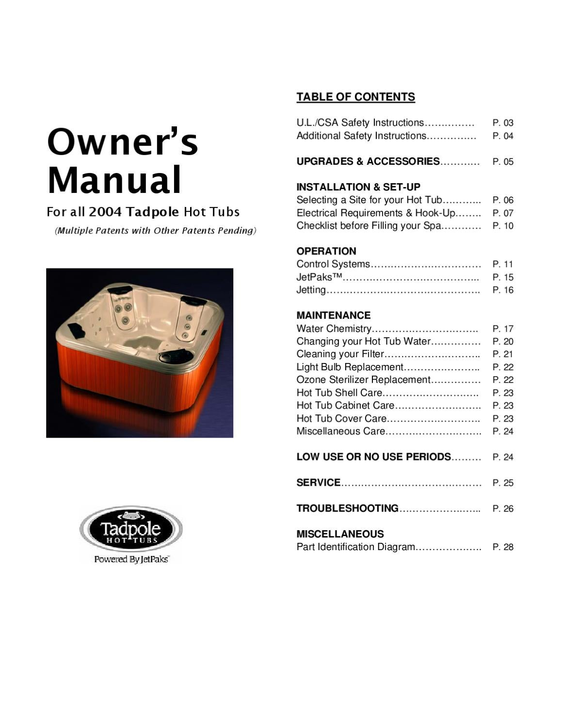 Tadpole Hot Tub Owners Manual 2004 By Envirosmarte Tubs Swim Electrical Wiring Diagram 120vac Spas Issuu