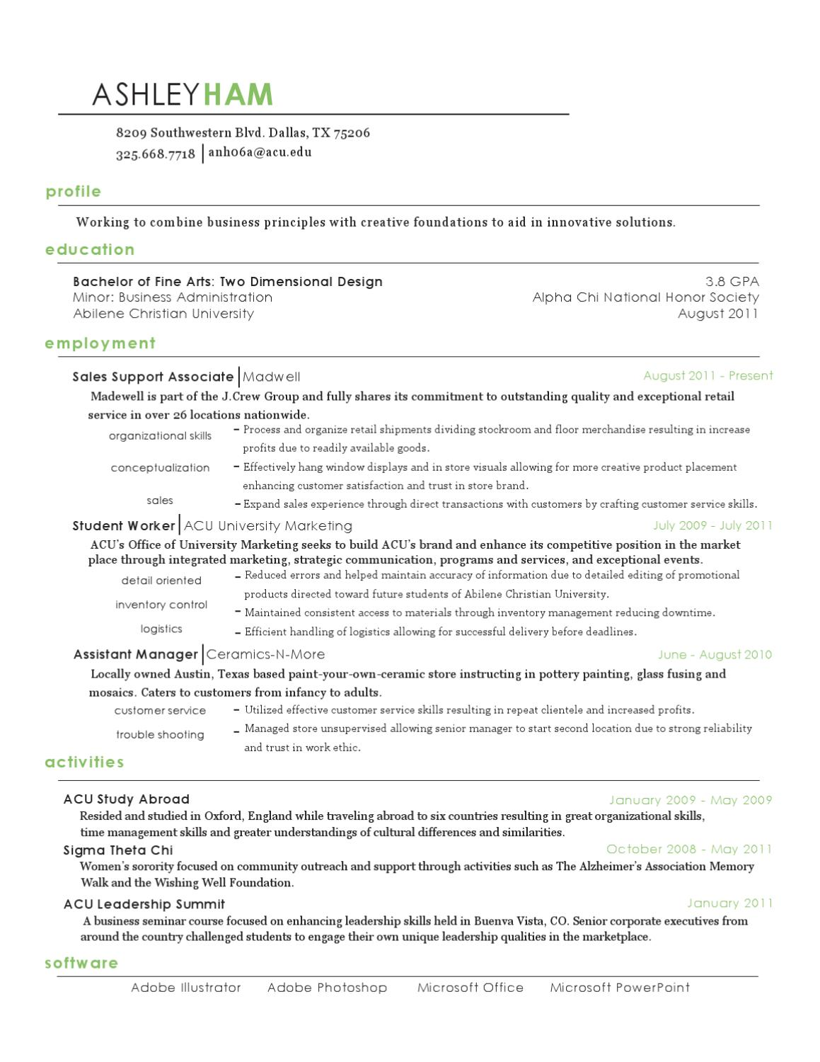 Revised Resume By Ashley Ham Issuu