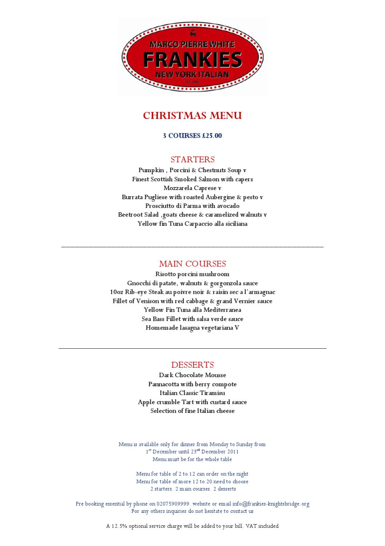 Frankies Knightsbridge Christmas-Menu by Must Magazines - issuu
