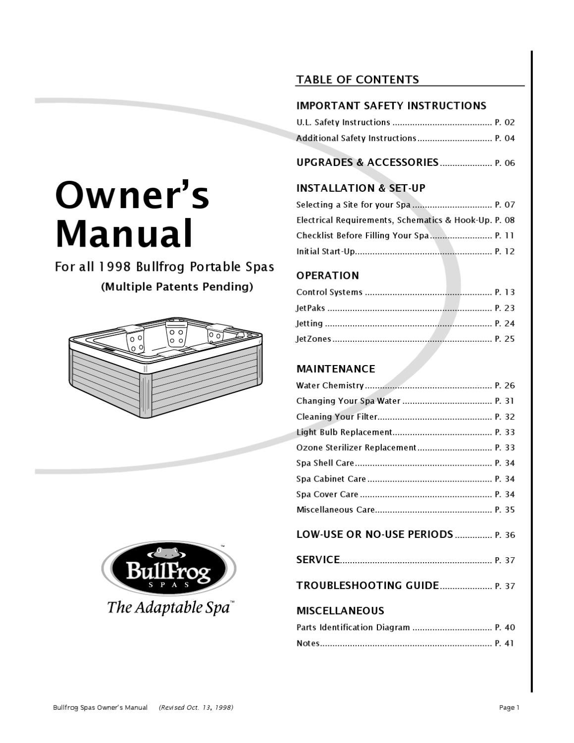 Bullfrog Spa Owners Manual 1998 By Envirosmarte Hot Tubs Swim Spas Garden Wiring Diagram Issuu
