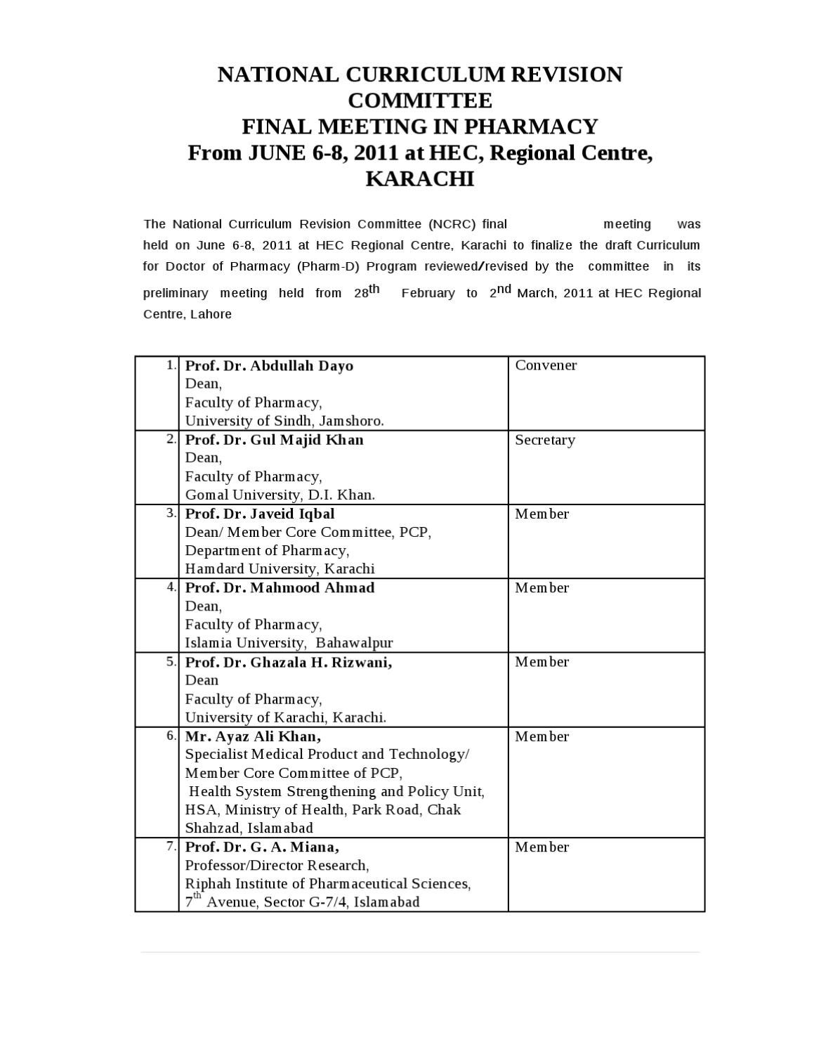 Pharm d revised curriculum by hec 2012 by khawar khalid issuu fandeluxe Choice Image