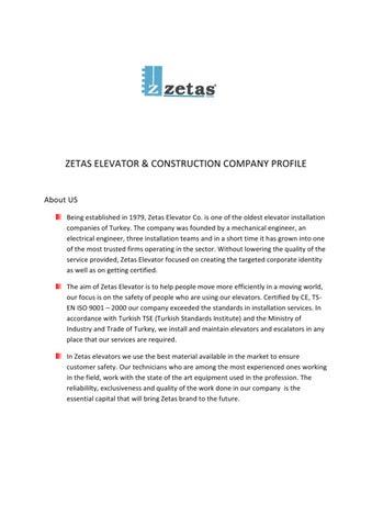 ZETAS ELEVATOR Company Profile by Caner Gokhan - issuu