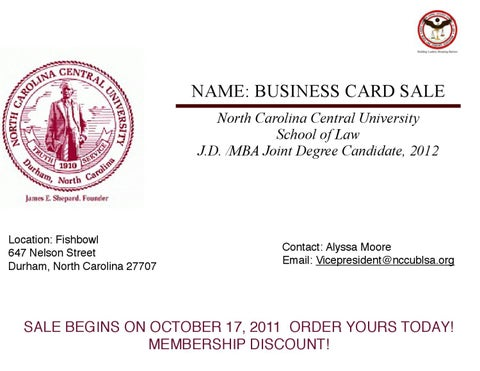 Nccu business card sale by nccu blsa issuu name business card sale north carolina central university school of law jd mba joint degree candidate 2012 colourmoves
