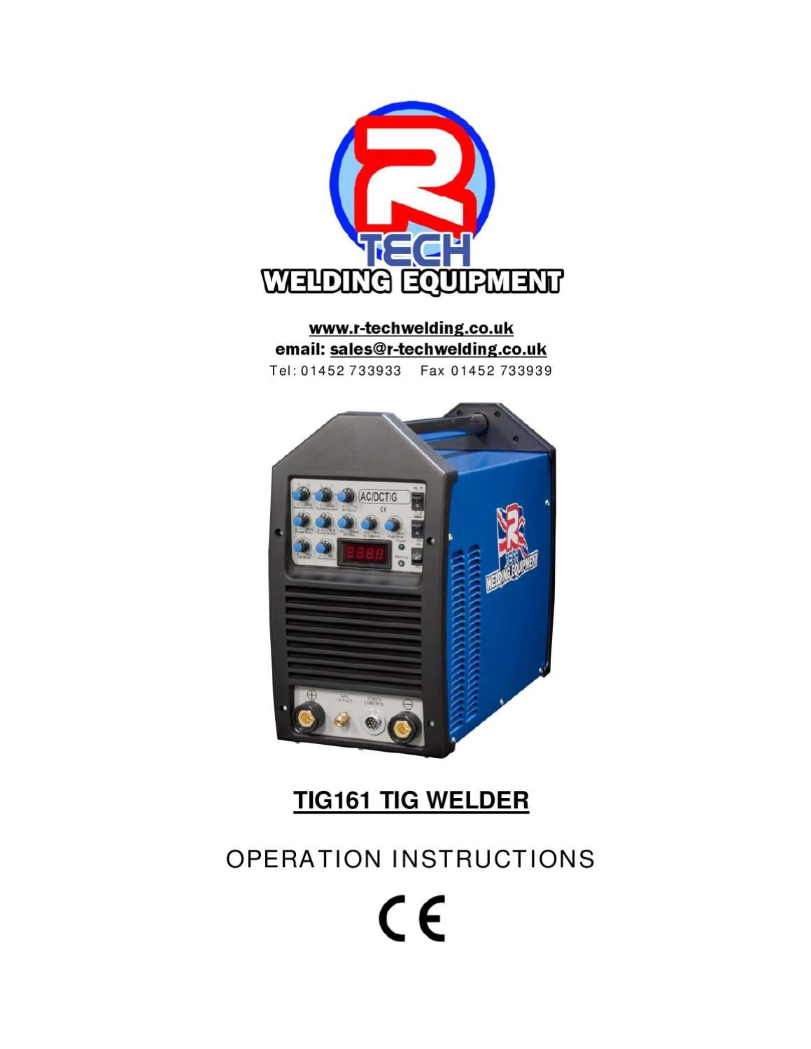 Tig Welder Owners Manual TIG161 By R Tech Welding Equipment Ltd