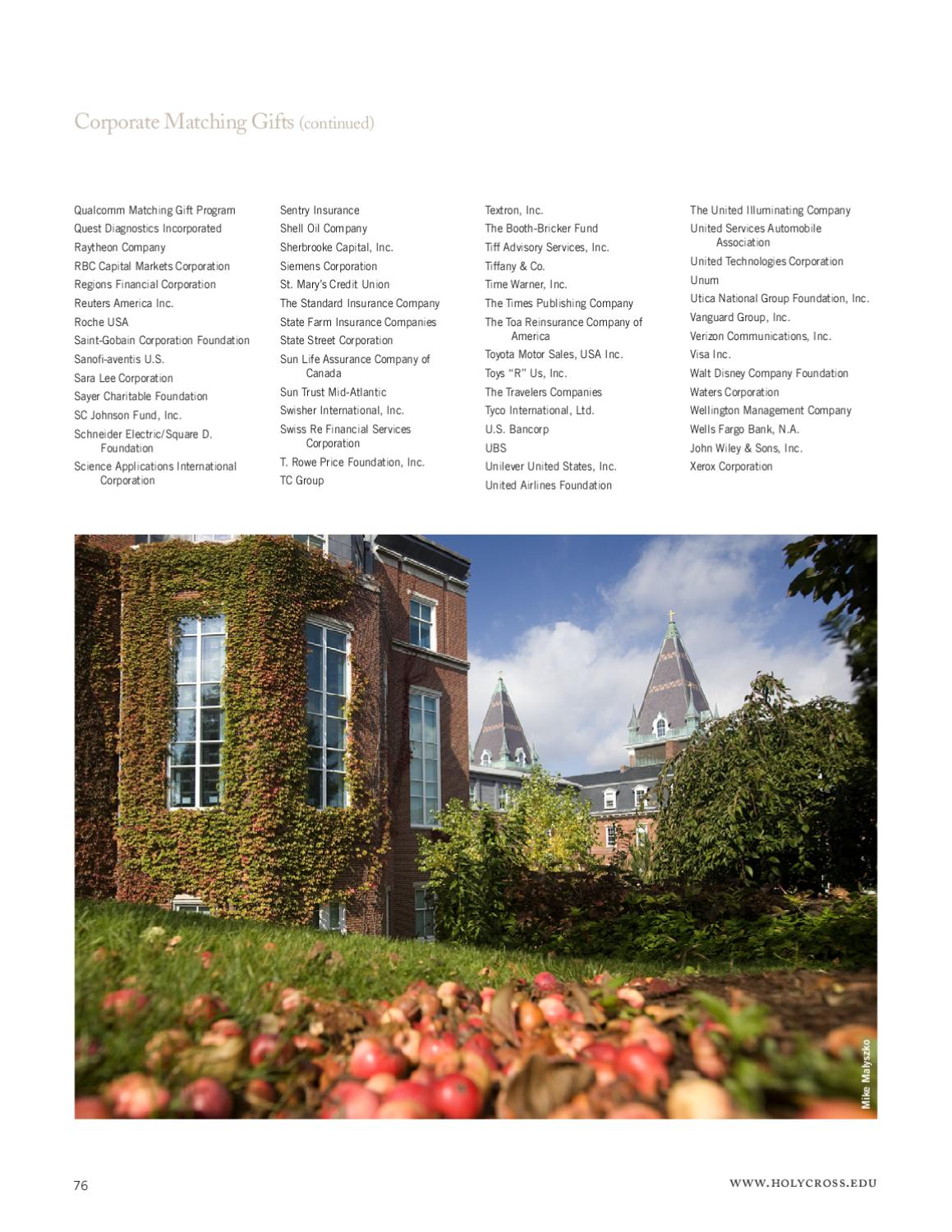 Report of Gifts 2011 by College of the Holy Cross - issuu