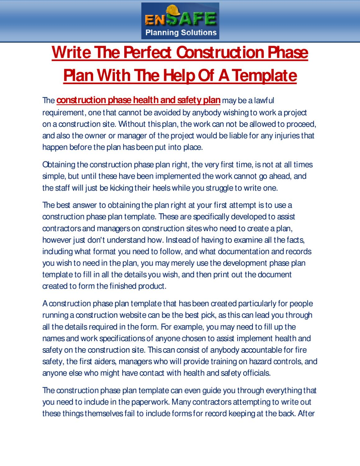 Write The Perfect Construction Phase Plan With The Help Of A Template By Martin Gerardo Issuu