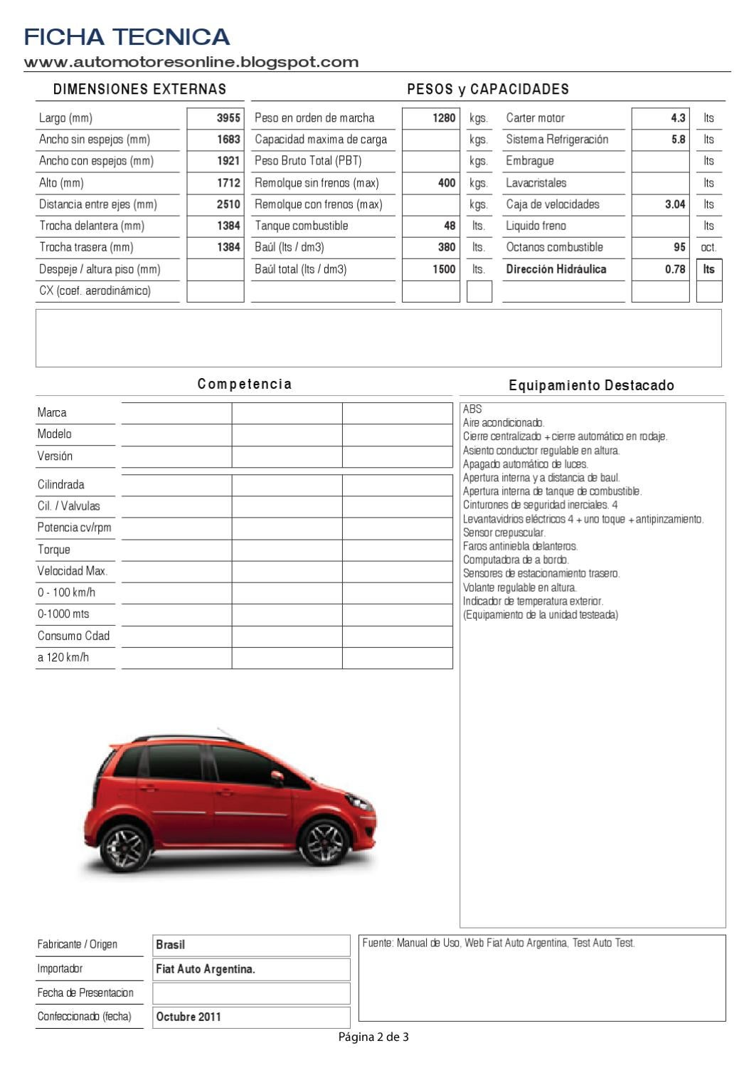 Fiat idea sporting 1 6 16v 2010 by automotores online issuu for Dimensiones fiat idea