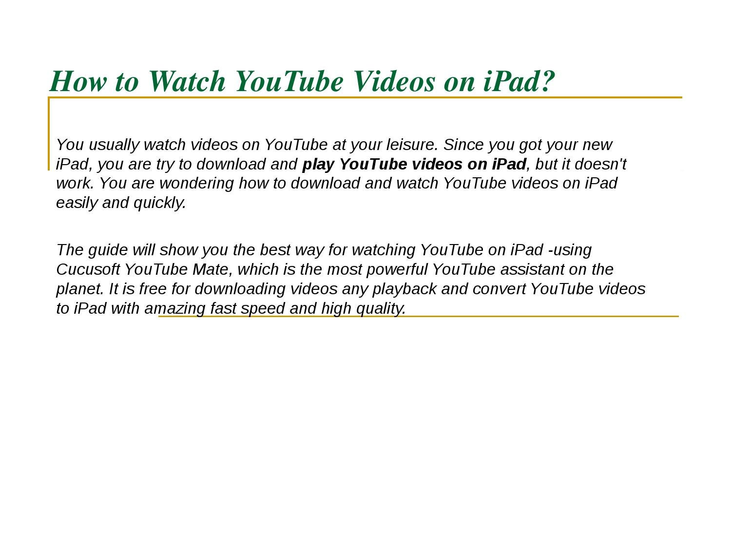 download from youtube to ipad free