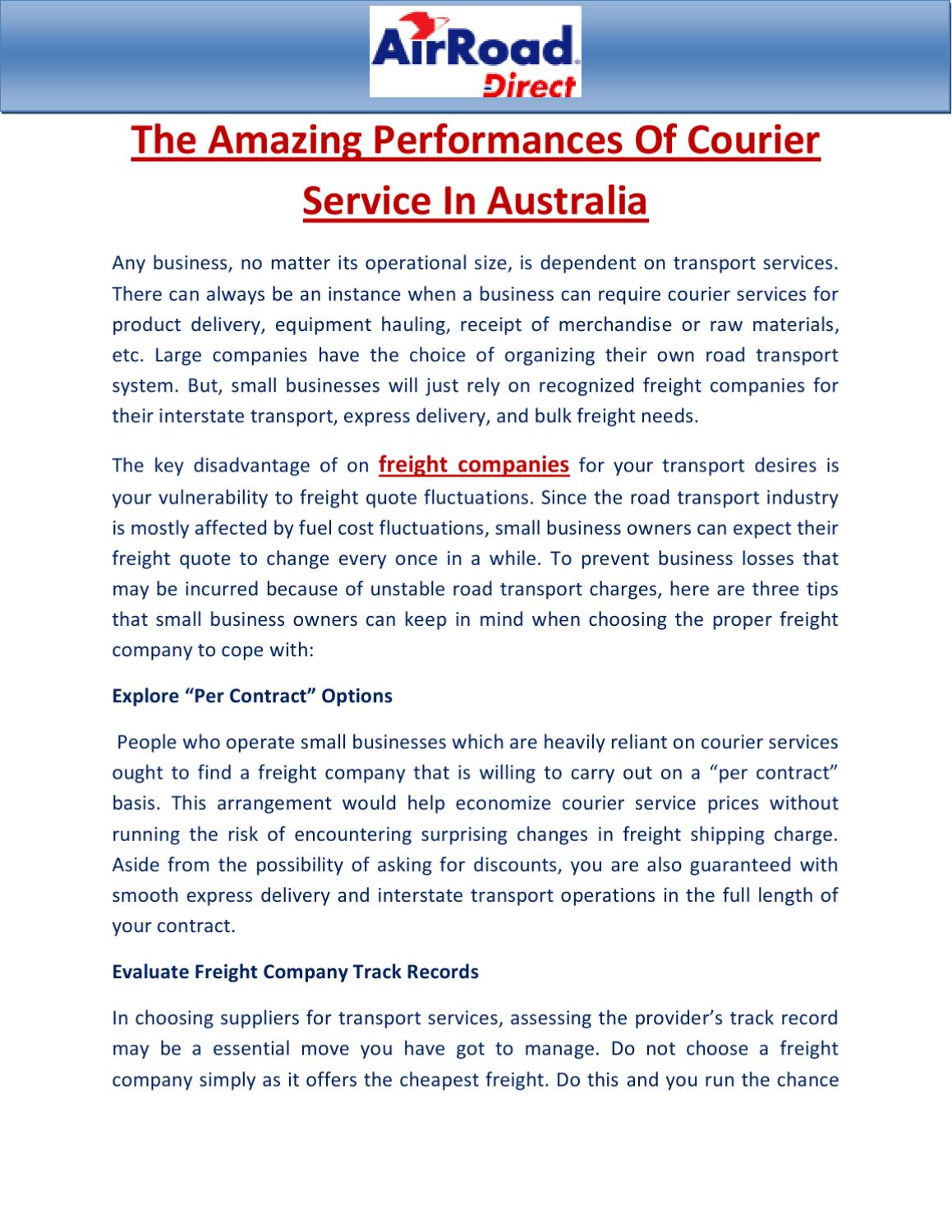 The Amazing Performances Of Courier Service In Australia by John