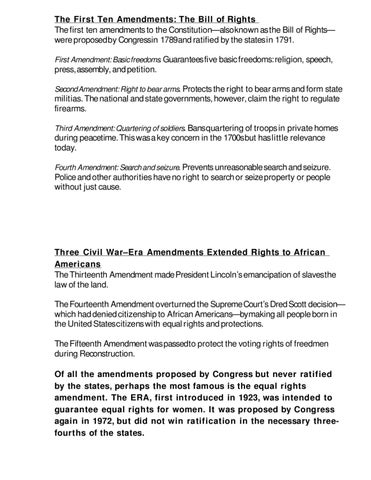 The First Ten Amendments The Bill Of Rights The First Ten Amendments To The Cons Ution Also Known As The Bill Of Rights Were Proposed By Congress In