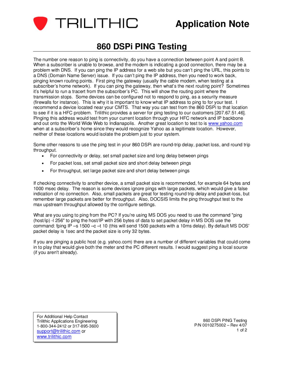 860_dspi_ping_testing by Trilithic, Inc - issuu