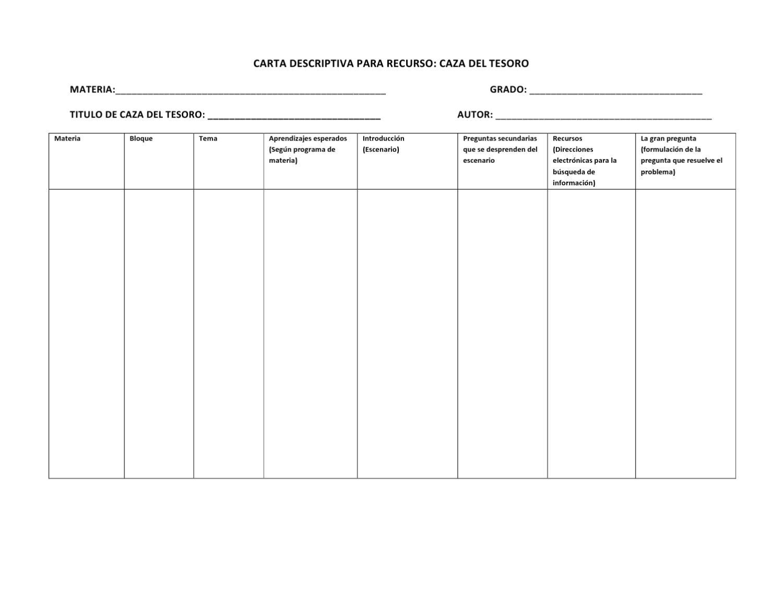 formatos para cartas descriptivas de recursos  by