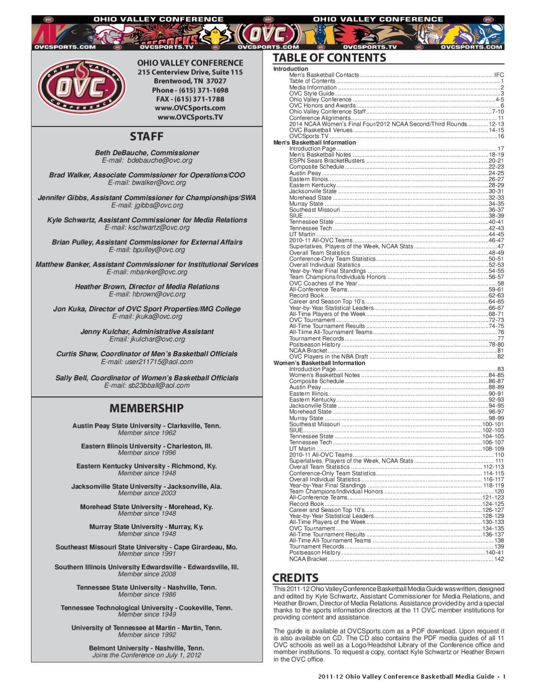 2011 12 Ovc Mens Womens Basketball Media Guide By Kyle Schwartz