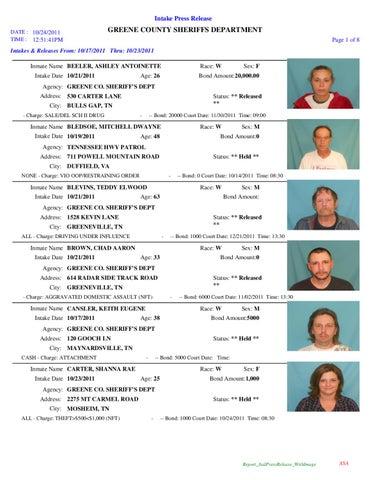 Greene County, TN Arrest Report & Mugshots - 10 23 11 by