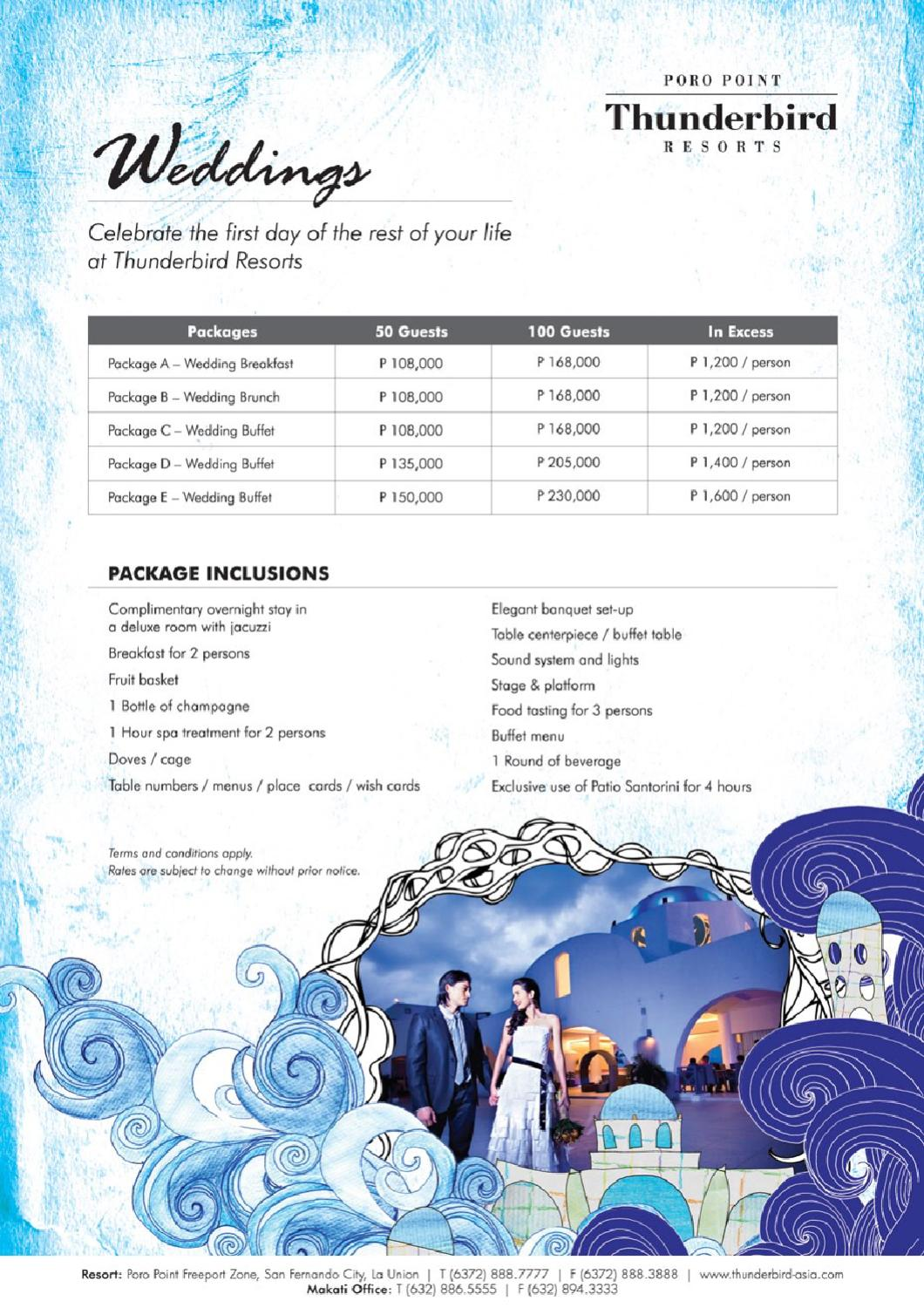 Thunderbird Resorts Poro Point Wedding Package By