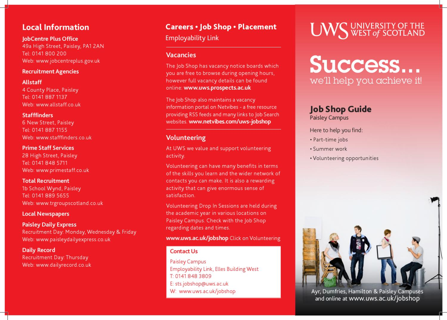 Uws Job Shop Paisley Campus Leaflet By University Of The