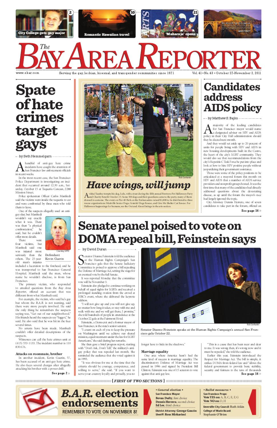 October 27, 2011 edition of the Bay Area Reporter
