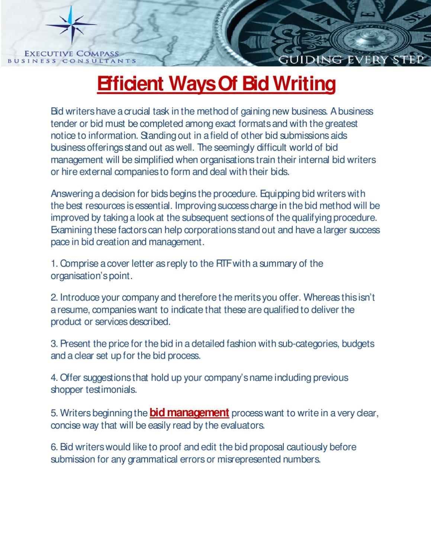 Efficient Ways Of Bid Writing by Ricky Marshall - issuu