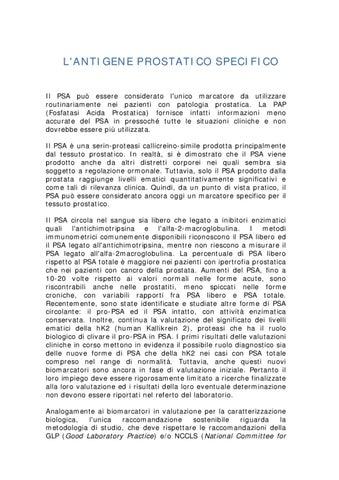 antigene specifico prostatico totale( psa)