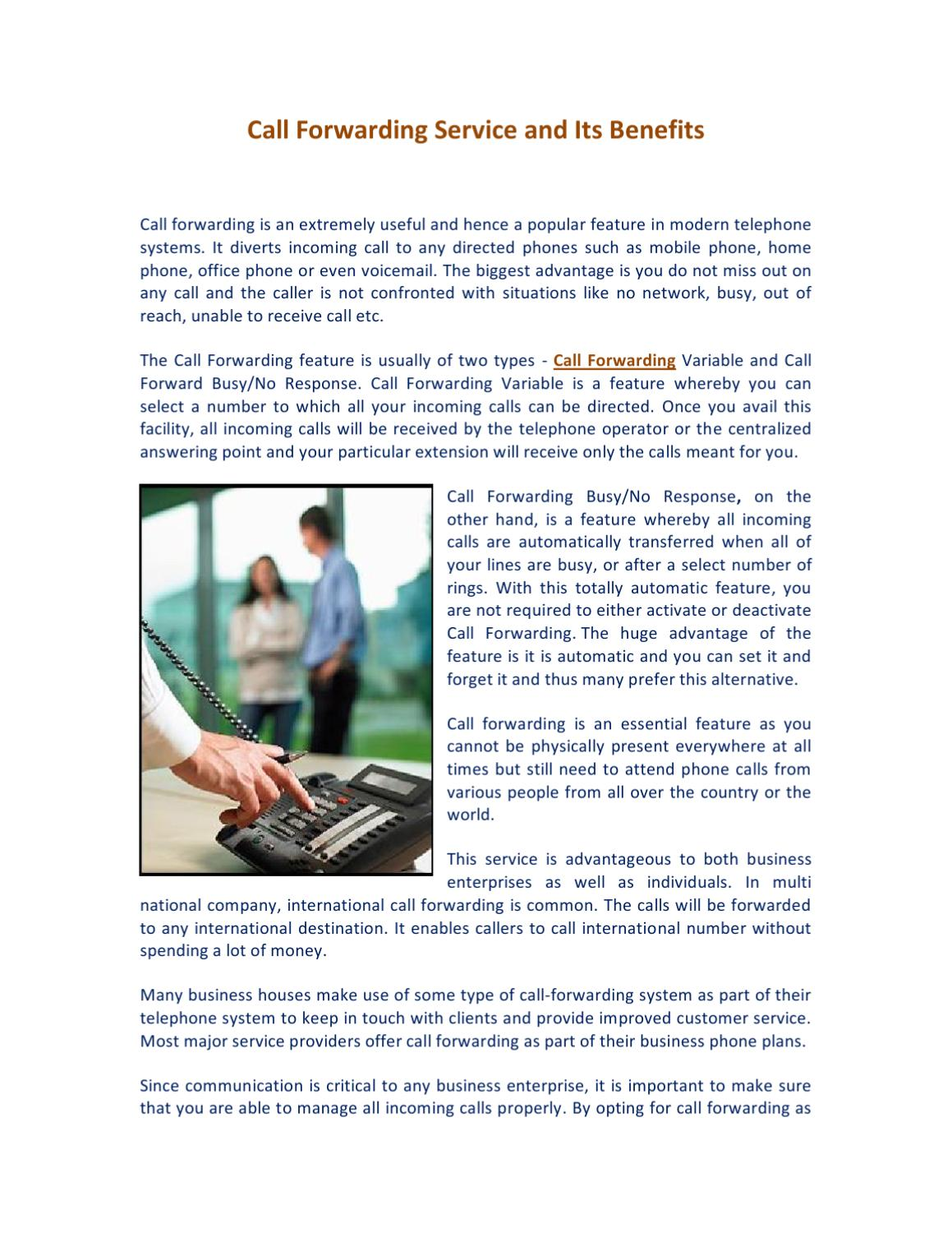 Call Forwarding Service and Its Benefits by James Allen - issuu