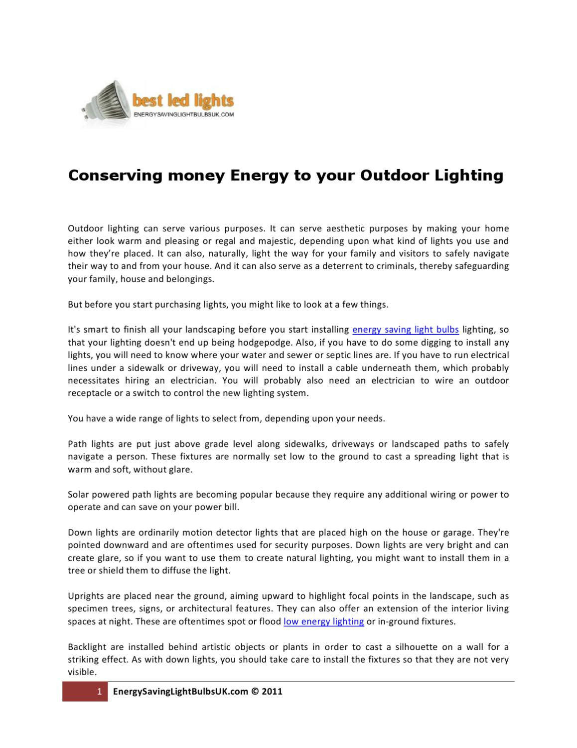 Conserving money Energy to your Outdoor Lighting by Tiia