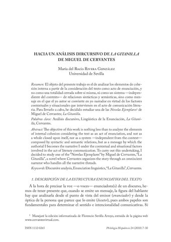 Hacia Un Análisis Discursivo De La Gitanilla De Miguel De