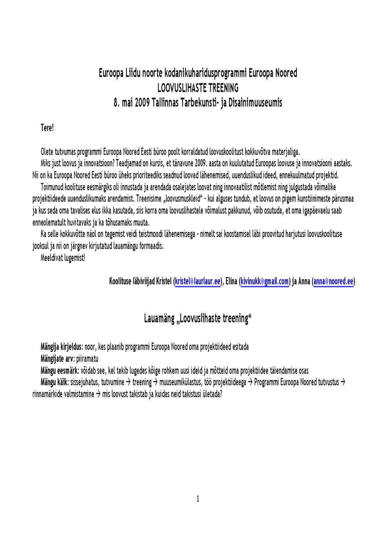 1fb5f5ce5a4 Loovuslihaste treening 080509 aruanne by Mitteformaalne.ee - issuu