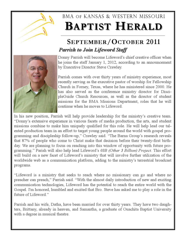 Baptist Herald-Sep/Oct 2011 Edition