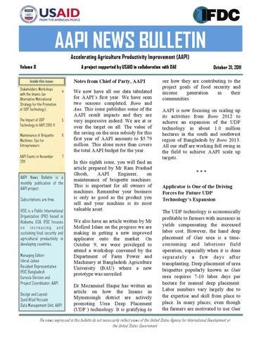 AAPI Bulletin Vol 8 October2011 (English) by afzal hossain
