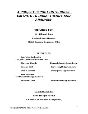 d067fe6462c A PROJECT REPORT ON  CHINESE EXPORTS TO INDIA TRENDS AND ANALYSIS ...